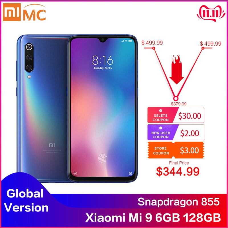 Original versão global xiao mi 9 6 gb 128 gb snapdragon 855 48mp ai triplo câmera smartphone sem fio de carregamento nfc impressão digital