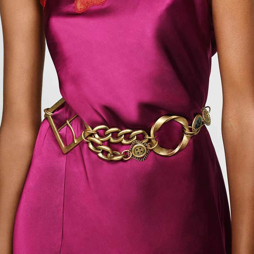 Girlgo Vintage Limited Edition Large Buckle Leather ZA Belt For Women Punk Metal Maxi Waist Chain Accessories Jewelry Wholesale