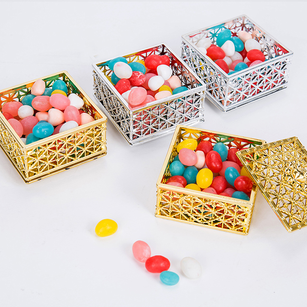 Pack of 12pcs Delicate Gridding Shaped Candy Box Gift Box for Wedding Favor