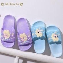 Congelados Elsa Anna niña playa zapatillas Sandalias de verano zapatos para niños con dibujos animados EVA resistencia transpirable antideslizante bebé Disney