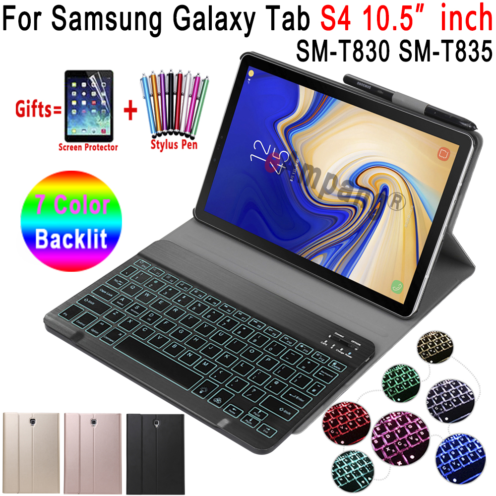 Case For Samsung Galaxy Tab S4 10.5 Keyboard Case T830 T835 SM-T830 SM-T835 Cover 7 Colors Backlit Bluetooth Keyboard Funda