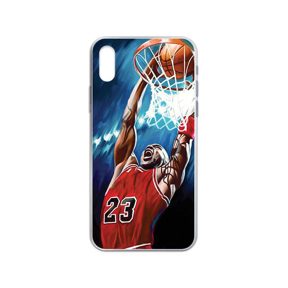 마이클 농구 23 요르단 커버 iphone 4 용 투명 전화 케이스 4S 5 5C 5S 6 6S PLUS 7 8 X XR XS 11 PRO SE 2020 MAX