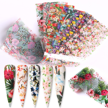 10 Pcs Rose Flowers Nail Foils Tropical Leaves Colorful Nail Decals Transfer Decorations Sets for Manicuring DIY Sticker Slide 12