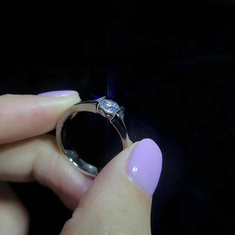 Klassische 1 Karat Zirkonia Diamant Hochzeit Engagement Ringe für Männer S925 Sterling Silber Schmuck Marke Männer Ring Mit Zertifikat