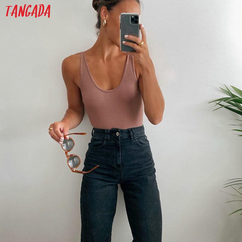 Tangada 2020 New Jumper body suit Women casual Sexy Slim beach Jumpsuit Romper girl Bodysuit solid brand suit QJ111