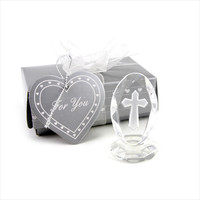 100 Pcs/lot Small Wedding Favors Crystal Cross Standing Baby Christening Gift First Communion Souvenirs Souvenirs for kids