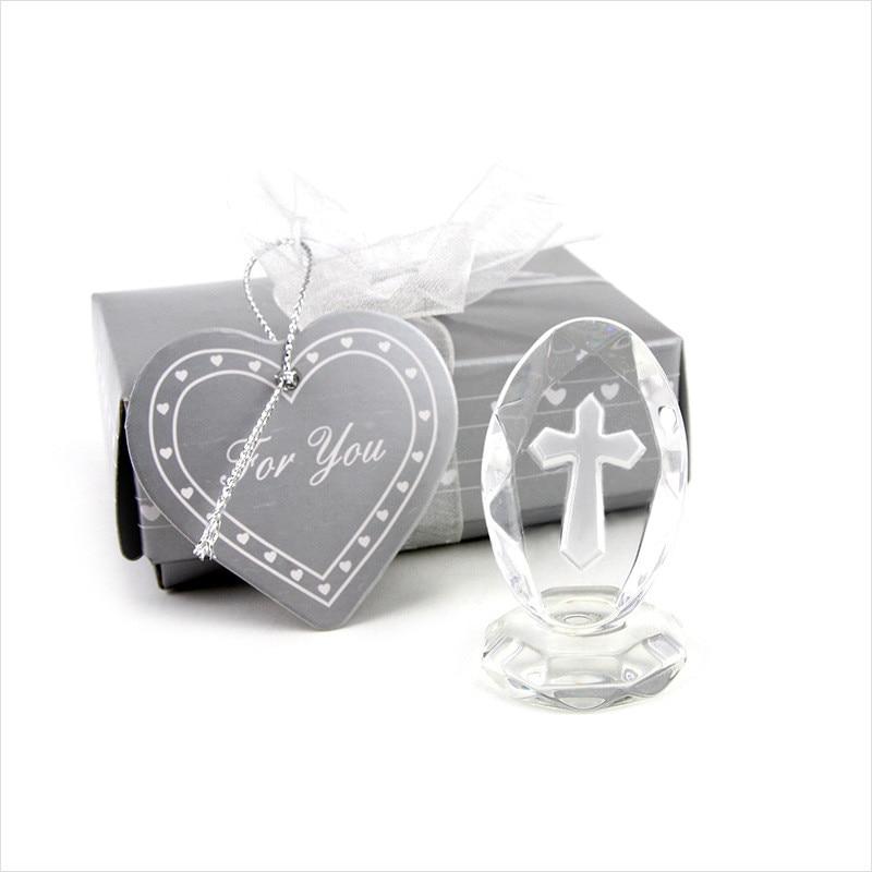 100 шт/партия маленькие свадебные сувениры хрустальный крест стоящий подарок малышу на крещение Первое причастие сувениры для детей