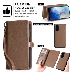 Image 2 - For Samsung Galaxy S20 Plus A71 A51 PU Leather Wallet Case Simple Style Detachable Magnetic Flip Case Phone Protective Cover