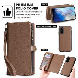 Image 2 - Para Samsung Galaxy S20 Plus A71 A51 PU Funda de cuero estilo Simple desmontable magnético Flip Case teléfono cubierta protectora
