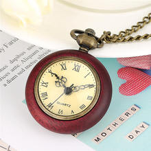 Buy Red Wood Pocket Watch Chain Roman Numeral Dial Open Face Fob Necklace Watches Perfect Birthday Gift reloj colgante enfermera directly from merchant!