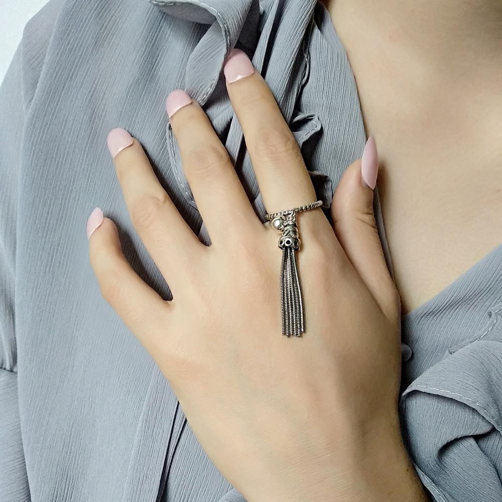 Classical Tassel Lady Rings Jewelry New Fashion 925 Silver Finger Ring For Women Princess Engagement Accessories Black Ring Lady