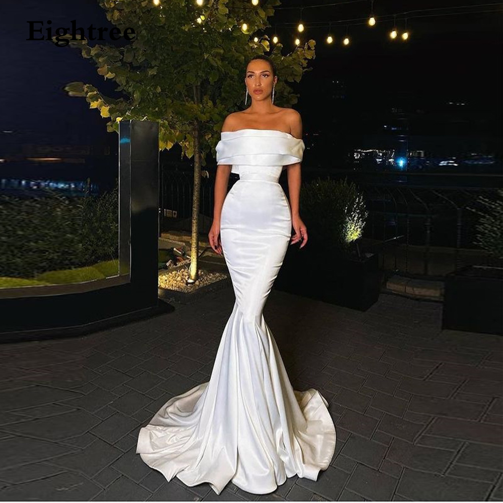 Eightree White Mermaid Off The Shoulder Night Party Dress Long Floor Length Celebrity Dress Sexy Train Sleeveless  Gown
