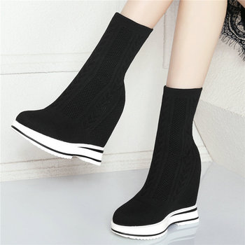 Fashion Sneakers Women Knitting Stockings Wedges High Heel Pumps Shoes Female High Top Round Toe Platform Creepers Casual Shoes
