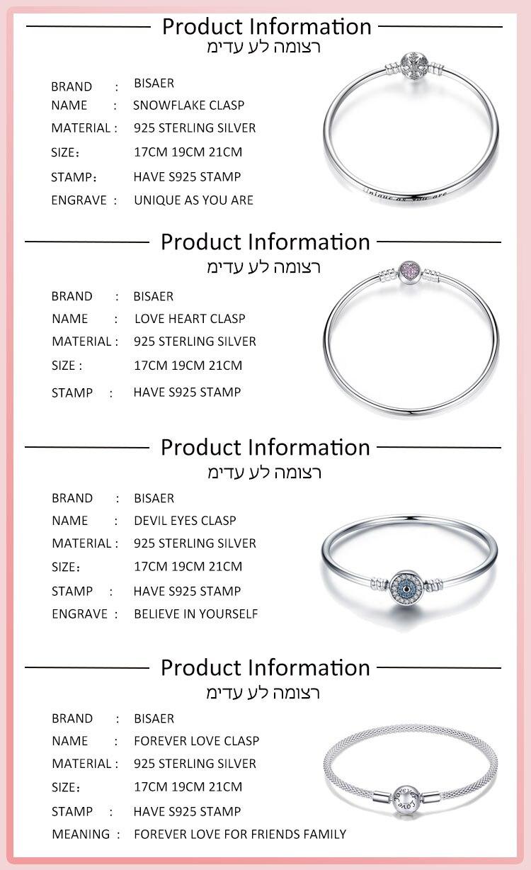 Pulseira 925 Sterling Silver Bracelet Femme Snowflake Heart Blue Eye Femme Snake Chain Bracelets & Bangles Women Jewelry 2