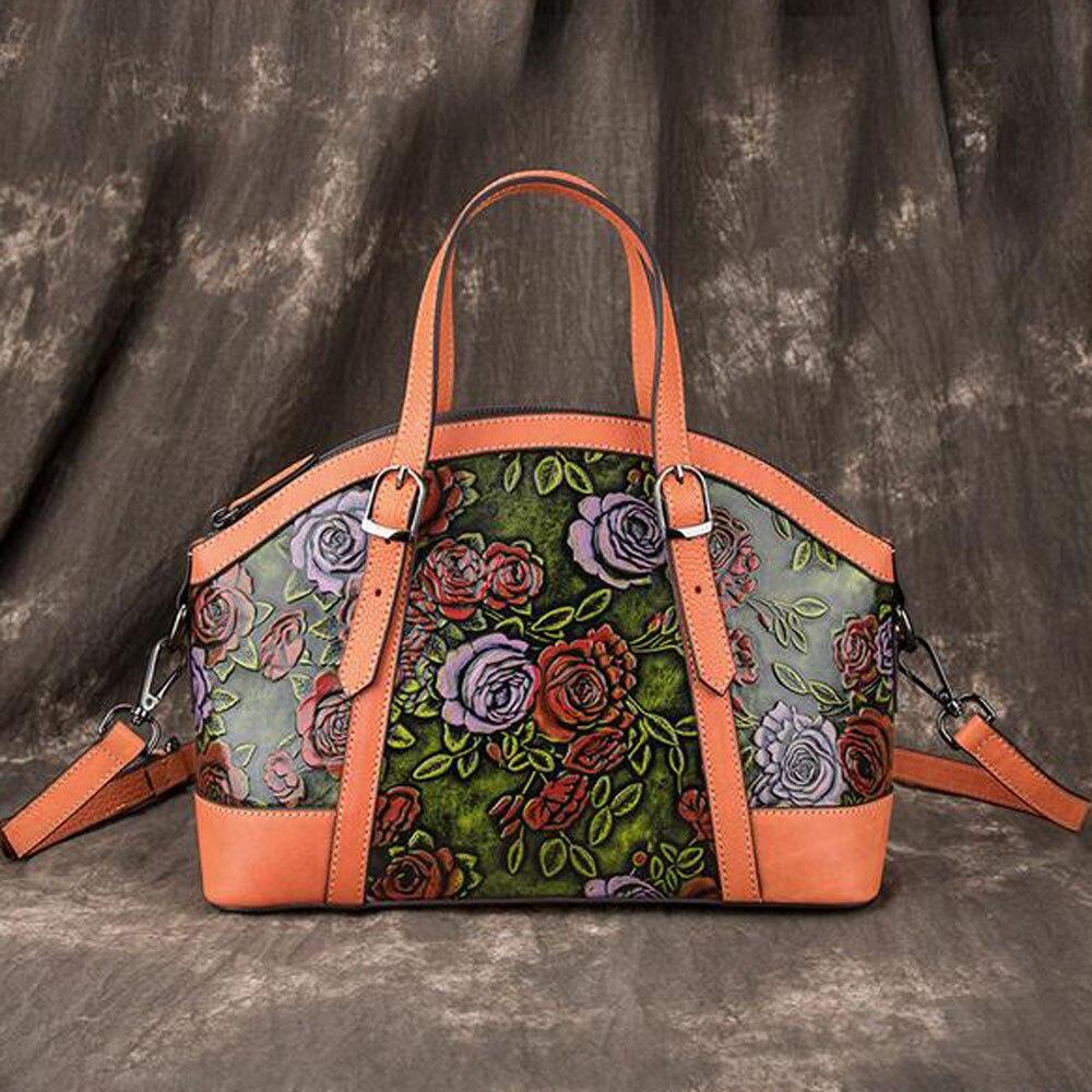 Women Genuine Leather Bags Cross Body Handbag Embossed Vintage First Layer Cowhide Top Handle Bag Messenger Shoulder Tote Purse