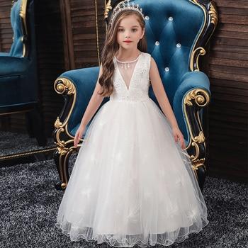 Vestido blanco de princesa para niña, vestidos de tutú de noche, ropa de verano para niña pequeña, Vestido largo, ropa para fiesta de cumpleaños de 3 a 12 años