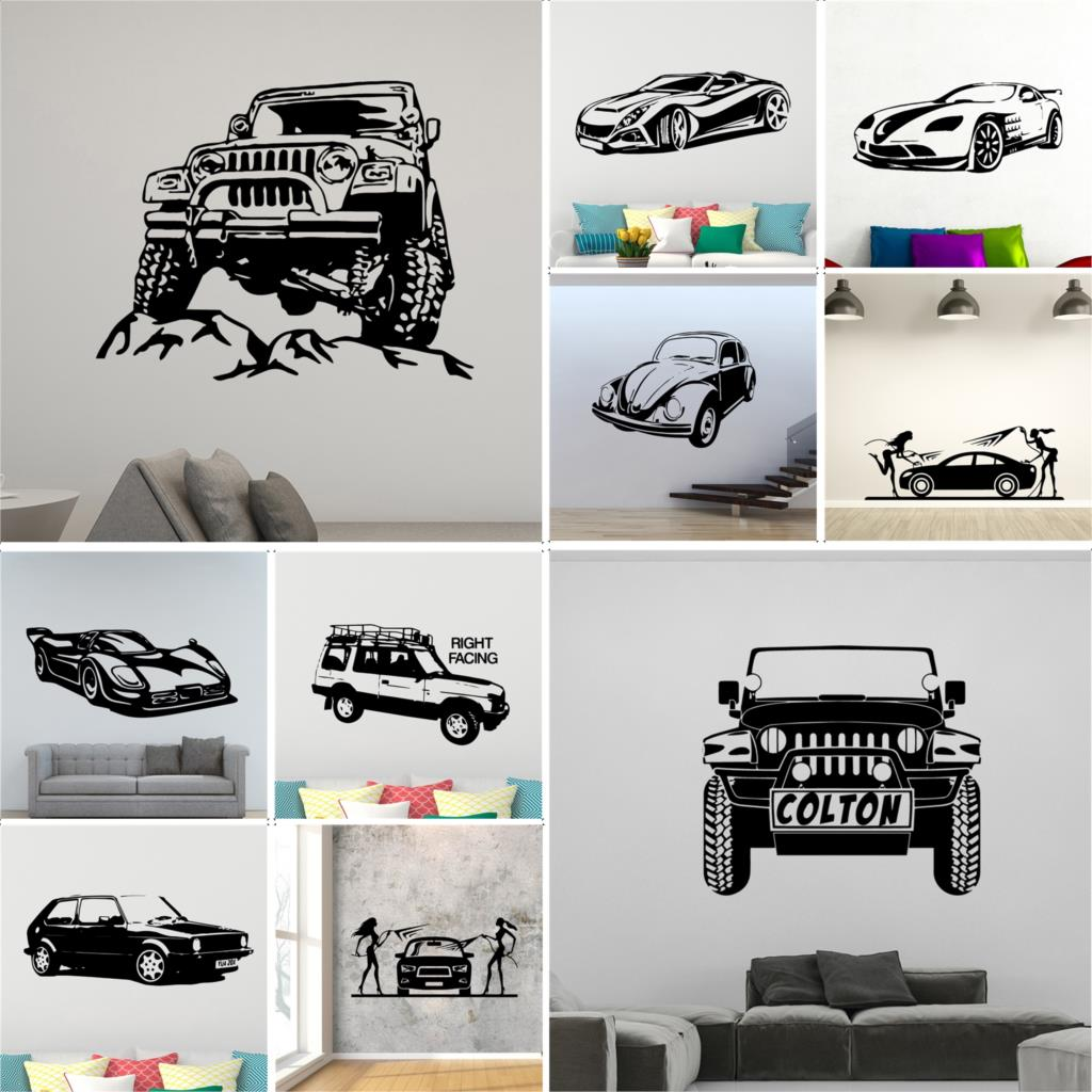 Car Wall Sticker cross country vehicle Stickers Mural Art Family Home Decor for Children's Room Boys Kids Room Wall decor(China)