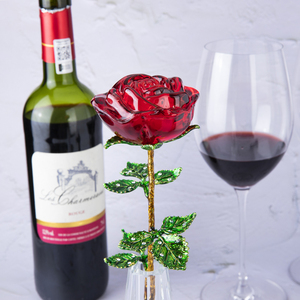 Image 2 - H&D Crystal Red Rose Flower Figurines Craft Birthday Valentines Day Favors Xmas Gifts Wedding Home Table Decoration Ornament
