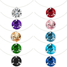 Collar Choker Necklace Jewelry Round Pendant Crystal Fishing-Line Transparent Women CZ