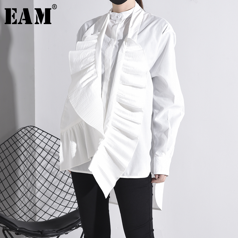 [EAM] Women White Pleated Big Size Blouse New Stand Collar Long Sleeve Loose Fit Shirt Fashion Tide Spring Autumn 2020 YG6380