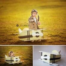 Apoyos para niño bebé para fotografía Avión de madera Vintage recién nacido accesorios de sesión de fotos manta estudio Foto Props bebé posando sofá cama