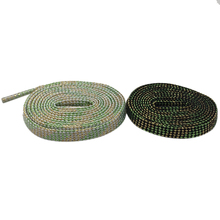 Weiou Laces 7MM Flat Green Dark Golden Glitter Sparkle Shoelace Metallic Yarn Shiny String 30 Pairs For Wholesale Drop-Shipping
