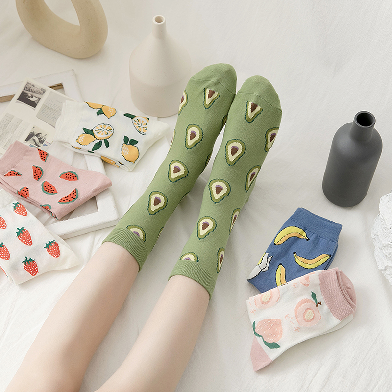 New Summer Cartoon Fruit Cotton Watermelon Lemon Strawberry Banana Avocado Women Korean Version Fashion Street Socks