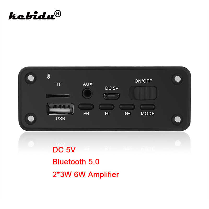 Kebidu coche manos libres Bluetooth 5,0 MP3 reproductor decodificador tablero 2x3 W altavoz coche FM Radio Módulo 5V TF USB AUX Audio DC 5V