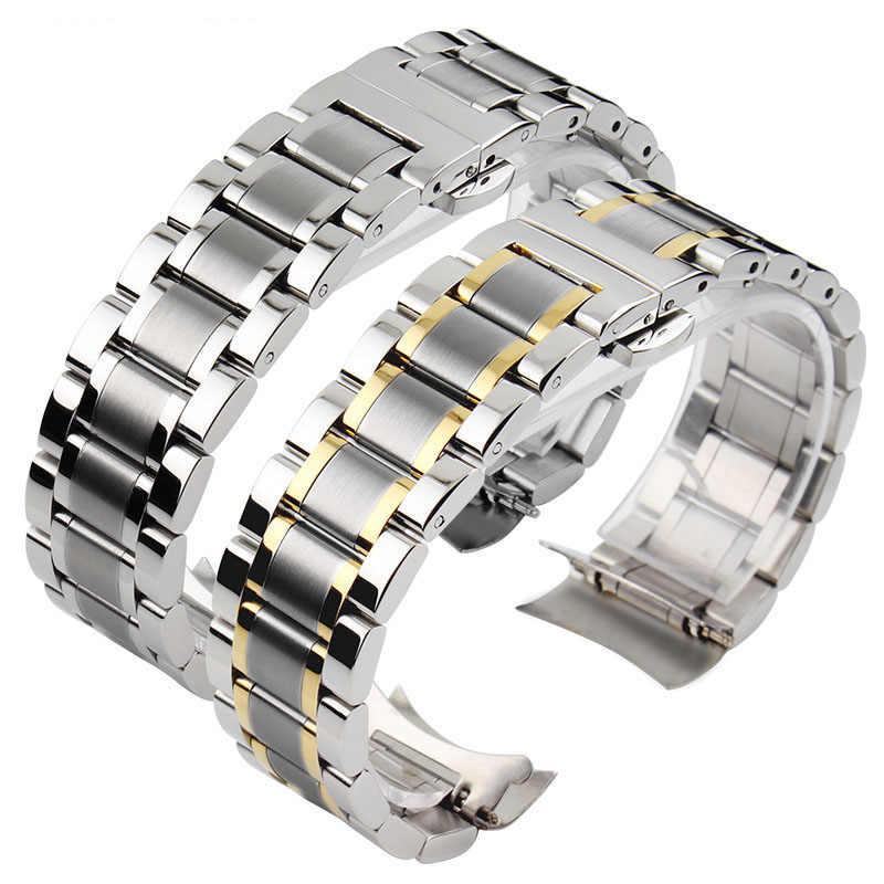 14MM 16MM 18MM 19MM 20MM נירוסטה Watc רצועת עבור TISSOT שעון להקת 1853 T41 t17 כסף זהב עלה זהב שעון צמיד
