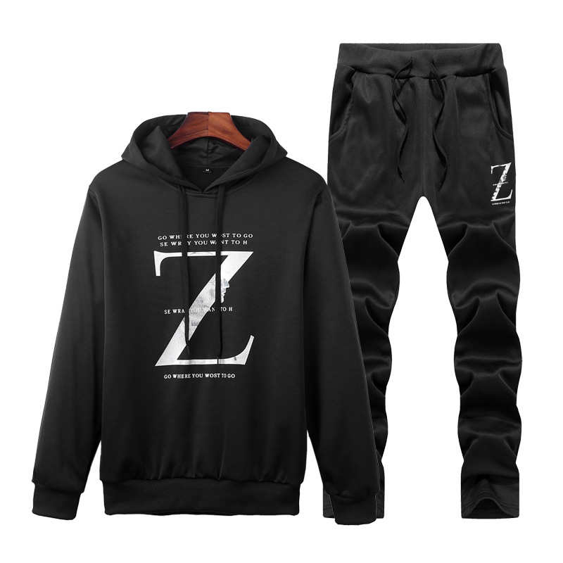 For Autumn Long Sleeve Hoodie Set Men's Korean-style Students Trousers Casual Sports Two-Piece Set Men'S Wear