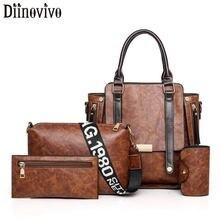 DIINOVIVO Vintage Women Composite Bag Set Handbags Lady PU Leather Messenger Bag Women Pouch Female Bag Shoulder Bags WHDV1306 цена 2017