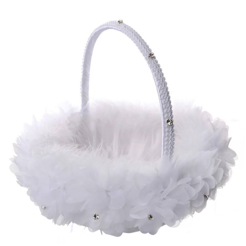 Hand-woven Rattan Woven Lace Wedding Flower Girl Basket Flower Petal Basket Fruit Basket Weddign Decorations Supplies