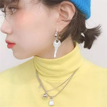 Japan Harajuku Punk S925 Silver Pun Pin Key Pendant Long Gold Plating Earrings for Women Girl Party Gift 2019 New
