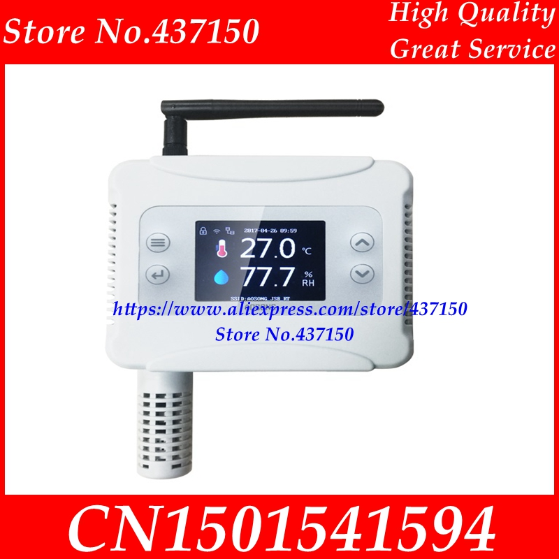 Ethernet WIFI Temperature Humidity Transmitter sensor USB  for Wifi Connection LCD display-in Sensors from Electronic Components & Supplies