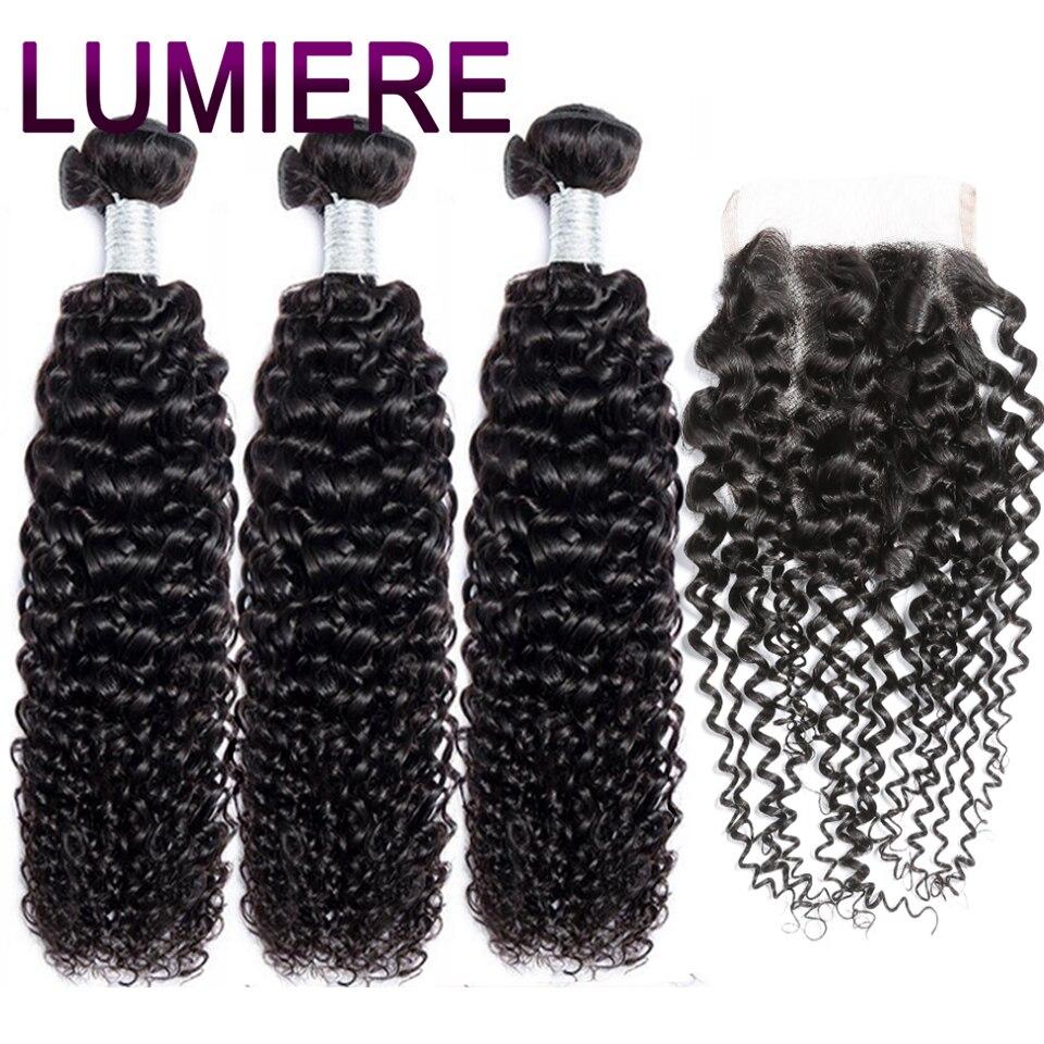 Lumiere Hair Kinky Curly Bundles With Closure Human Hair Bundles With Closure No-Remy Brazilian Hair Weave Bundles