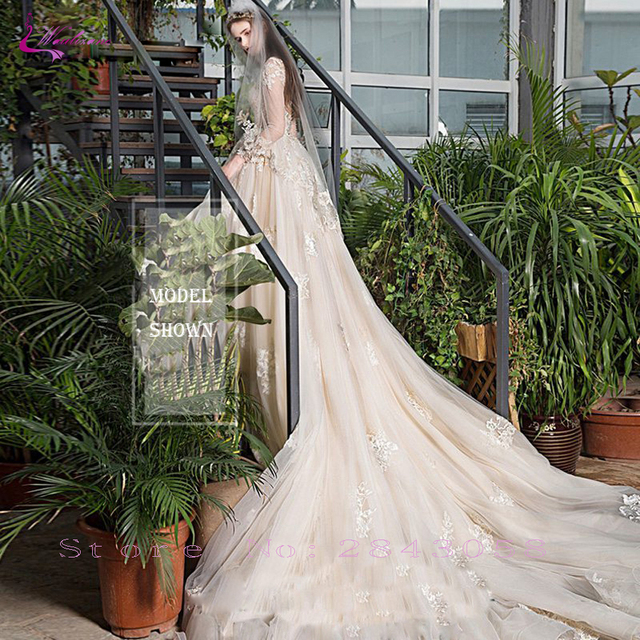 Waulizane Chic Organza Bridal Gowns Exquisite Embroidery Appliques O-Neck 2 In 1 Detachable Train Wedding Dress Customize Made 6