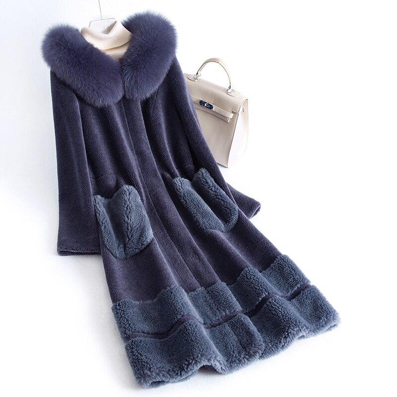 Women Coat Winter Sheep Shearling Real Fur Coat Female Fox Fur Collar 100% Wool Coats Long Jacket Manteau Femme MY4230 S