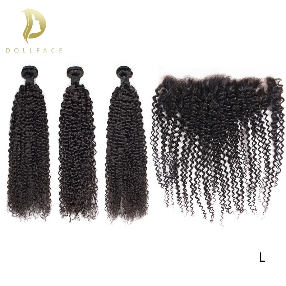 afro kinky curly human remy natural hair pieces color extensions 3 bundles with frontal brazilian hair weave bundles Dollface