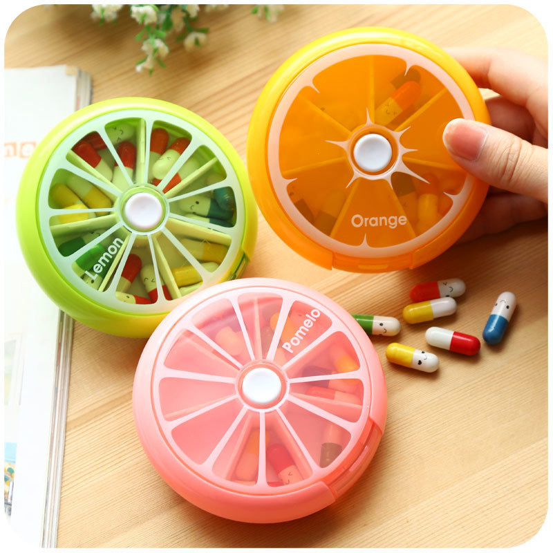 Portable Weekly Pill Box Rotating Pill Case Splitter Travel Medicine Box Dispenser 7 Day Pill Container Organizer Candy color