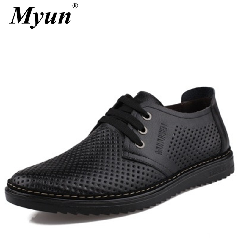 Genuine Leather Hollow Out Men Summer Sandals Fashion Casual Shoes Male Beach Sandalias Soft Bottom Breathable Plus Size 38-44
