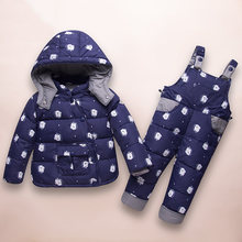Kids Warm Down Coats Winter 2019 Children Down Clothing Sets 2Pcs Jacket And Overall 1-4 Years Baby Girls & Boys Snowsuit(China)