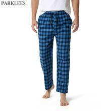 Синий плед мужские пижама низ брюки одежда для сна отдых расслабленный дом пижамы брюки мужские повседневные шнурок пуговицы ширинка пижама Homme 3XL
