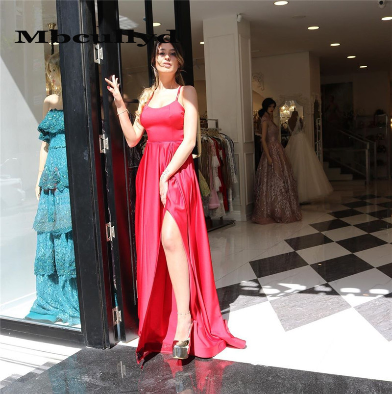 Mbcullyd Exquisite Halter Neck Red   Prom     Dresses   Long 2020 Sexy High Split Formal Evening   Dress   Party For Women robe de soiree