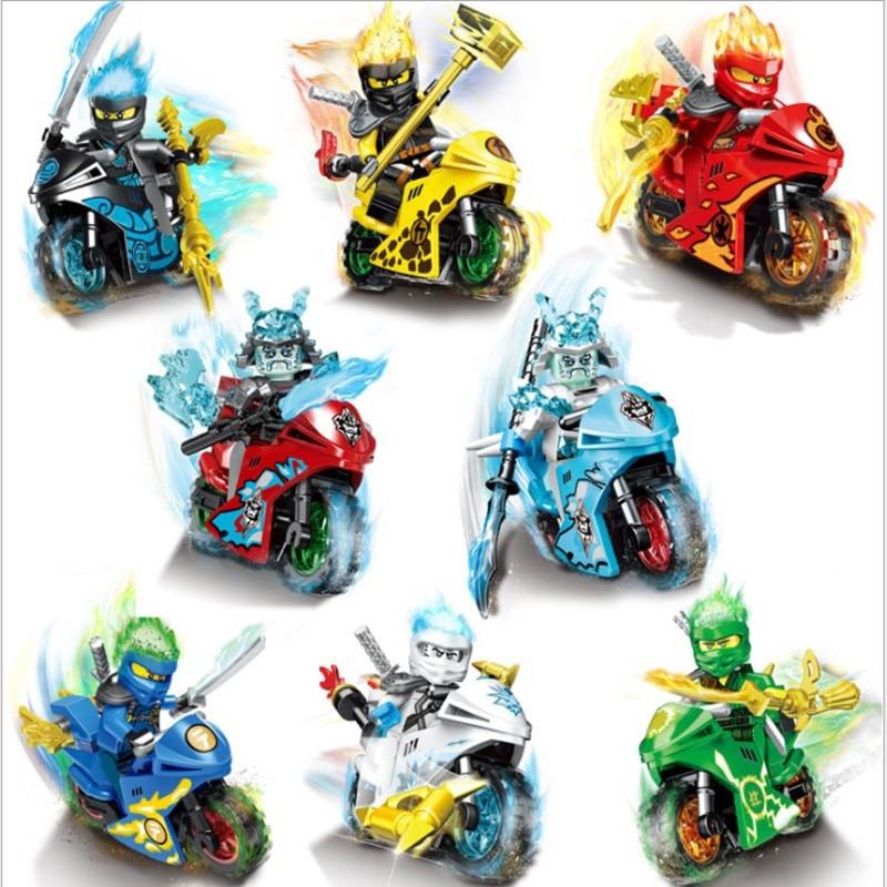 8Figures+8Motos Ninja Legoinglys Ninjagoinglys Masters Of Spinjitzu Lioyd Garmadon Dragon Motorcycle Heroes Toys For Children