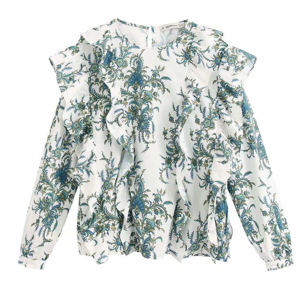 New Women Cascading Ruffles Printing Casual Smock Blouse Ladies Chic Kimono Pleat Ruffles Femininas Shirts Pullover Tops LS6375