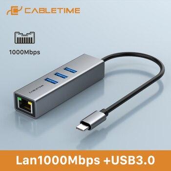 cabletime usb c to ethernet lan adapter 1000mbps rj45 usb hub for notebook laptop internet