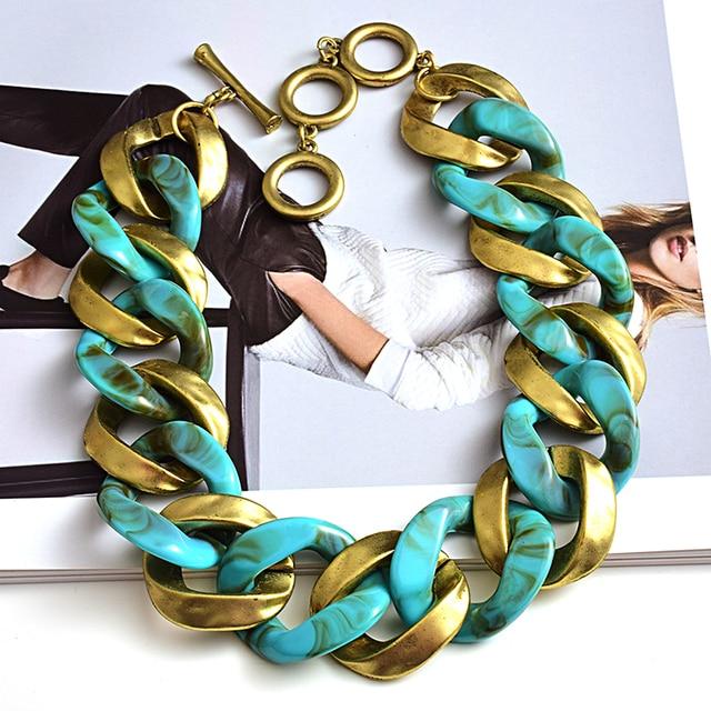 New design Matte-gold High quality Metal acrylic  Statement Fashion bracelet  1