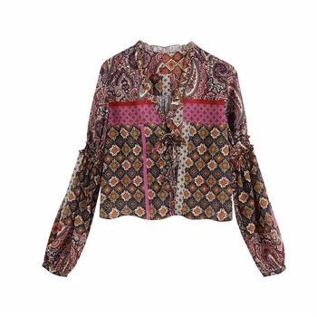 цена на 2020 Women ZA Tops Vintage Paisley Print Long Sleeves V-neck Zaraing Blouses Fashion Ruffle Tims Bow Tied Mujer Cropped Smocked