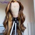 Хайлайтер 13X4 парики из человеческих волос на сетке спереди, 180% бразильские волнистые человеческие волосы Remy, предварительно выщипанные 4x4 п...