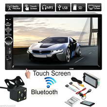 все цены на 7'' 2-Din LCD Touch Screen Car MP5 Player Bluetooth Stereo FM Radio HD Rear Camera DC12V Support TV Output USB 2.0  180*103*62mm онлайн